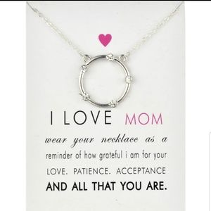 "Jewelry - Silver  ""I Love Mom"" Halo Charm Pendant Necklace"